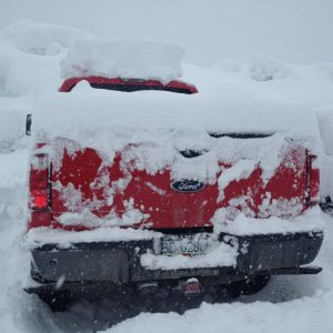 17 Feet of snow snowed 3 feet overnight, also like my tow hitch cover :P