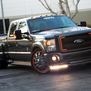 A shot with the truck's custom LED running lights turned on.